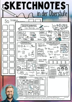 Sketchnotes in the upper level / text work – teaching material in the subjects German & subject … - Deutschunterricht Improve Handwriting, Choice Boards, Sketch Notes, Mind Tricks, School Notes, Teaching Materials, Hand Lettering, Language, Bullet Journal
