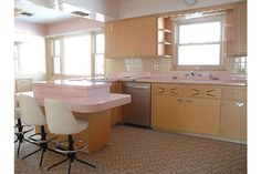 Retro pink kitchen decorations