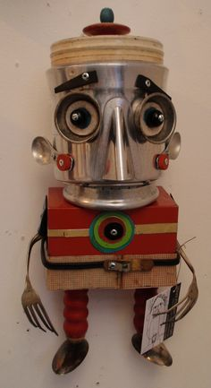 SOLD Found Object Art, Found Art, Recycled Art, Repurposed, Steampunk Robots, Spice Tins, Yard Ornaments, Tin Man, Upcycling Ideas