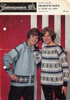 Skjennungen G 25 - Garnmannen Vintage Knitting, Christmas Sweaters, Knitting Patterns, Jumpers, Jackets, Crafts, Handmade, Craft Ideas, Fashion