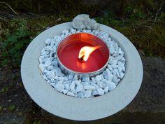 Feuerschalen & -stellen - Betonschale Feuerschale mit Outdoorkerze - ein…