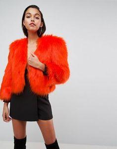ASOS 80's Statement Shoulder Faux Fur Jacket