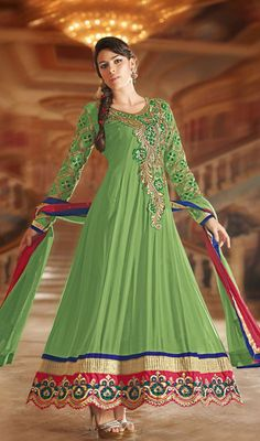 Green Embroidered Georgette Long Anarkali Suit Charm and enchain the people in awe enfolding yourself in this pista green shade faux georgette long Anarkali suit. Kameez showcases embroidered foliage patterns on the neck patch and hemline. Scalloped hemline stylizes the appearance of the attire.  #LongAnarkalisSuitsCollection #AnarkaliSalwarKameez