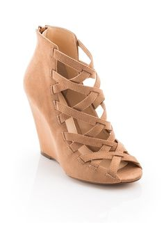 Sigh....Criss Cross Nude Peep Toe Wedges