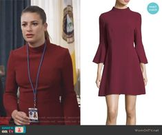 9aa8315ce806 Valentina s red bell sleeve mock-neck dress on The Mayor. Outfit Details   https