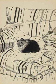 Lucien Freud - The Sleeping Cat  (Via http://www.christies.com)