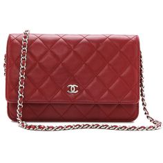 What Goes Around Comes Around Vintage Chanel Quilted Flap Bag - Red ($2,683) ❤ liked on Polyvore featuring bags, handbags, bolsas, chanel, purses, accessories, genuine leather handbags, chanel purses, vintage leather purse and quilted leather handbags