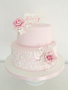 Pink rose demask birthday cake | SwirlsBakery | Flickr