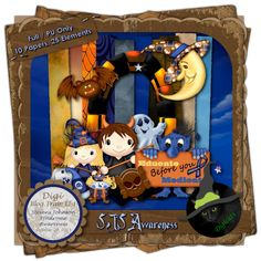 SJS Awareness - Halloween themed digital scrap kit composed of 10 papers and 25 .png elements. 300 DPI.  Personal use only. Available in Full and Tagger sizes. Created for the October Digi Blog Train.