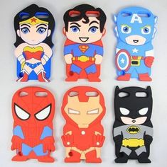 Cute Cartoon Superhero Comics Soft Silicone Rubber Case for iPod touch 5 funny superhero -- Batman Spider-Man Superman Superwoman Captain America friends in silicone protect your iPod touch. It is Easy access to all ports, controls and connectors. Ipod Touch Cases, Cool Iphone Cases, Cool Cases, Cute Phone Cases, 5s Cases, Smartphone Iphone, Tablet, Iphone Skins, Ipad Case