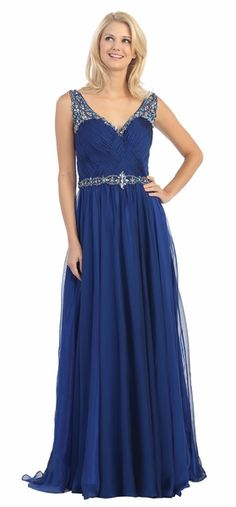 Sleeveless A Line Royal Blue V Neck Dress #discountdressshop #vneckdress #formalwear #womensclothing Bridesmaid Dresses, Prom Dresses, Formal Dresses, Wedding Dresses, Royal Blue Dresses, Blue V, V Neck Dress, Formal Wear, Bodice