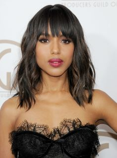 """Eye-grazing+fringe+gives+Washington's+choppy+bob+that+effortless+""""rolled+out+of+bed+looking+this+good""""+appeal.+   - HarpersBAZAAR.com"""