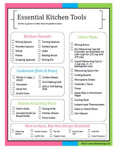 essential kitchen tools checklist :: kitchen supplies to make meal preparation easier (with free printable)