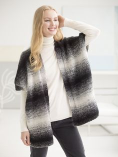 Knit our Free Spirit Topper with our featured yarn - beautiful ombre Lion Brand Scarfie, now 20% off for a limited time! Free pattern calls for 4 balls of yarn (pictured in cream/black) and size 9 (5.5mm) knitting needles. Crochet pattern also available!