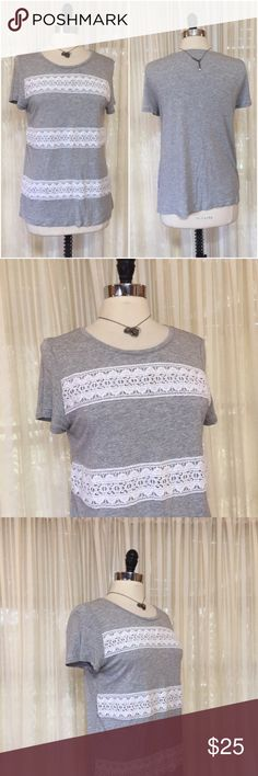 NEW LISTING💜LOFT gray ivory lace cap sleeve top Size large. 100% rayon. EUC  💟Fast 1-2 day shipping 💟Reasonable offers accepted 💟Purchase 3 or more items & get a special bundle rate!  💟Smoke-free home LOFT Tops Blouses