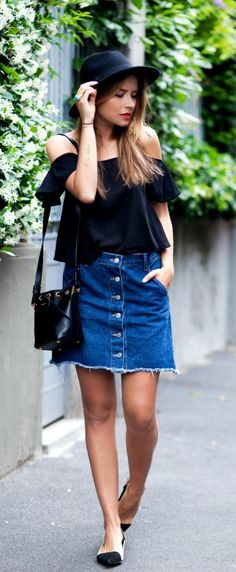 Front button skirt + off the shoulder
