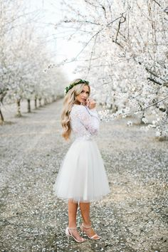 Audrey Lace Bell-Sleeve Top and Emma tulle skirt by Bliss Tulle