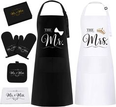 Amazon.com: Mr & Mrs Aprons Gift Set for Couple - Funny Housewarming Wedding Gifts for Couple, Engagement Gifts for Women, Bridal Shower Gift for Bride with Dish Towel, Oven Mitts & Pot Holder: Clothing Bridal Shower Gifts For Bride, Bride Gifts, Unique Romantic Gifts, Funny Aprons, Engagement Gifts For Couples, Funny Couples, Couple Gifts, Newlyweds, Gifts For Women