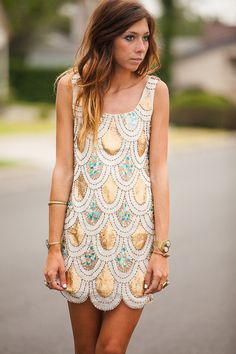 Gold and Turquoise Sequin Mini Dress