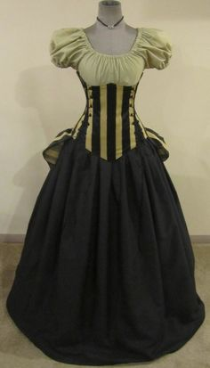 Elegance Black and Pale Gold Stripe Corset Puff by loriann37