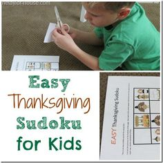 Thanksgiving Activities: Easy Thanksgiving Sudoku