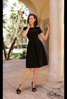 black velveteen vintage-style dress from Pin-Up girl, by Laura Byrnes