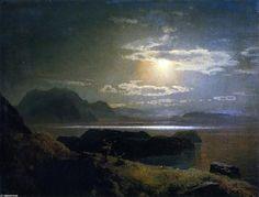 Elk in the Moonlight, huile sur toile de Herman Herzog (1832-1932, Germany)