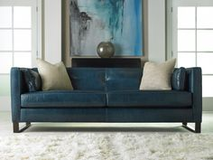 Decoration, Modern Blue Leather Sofa Design: Top Feature Blue Leather Sofa