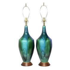 Mid century drip glaze turquoise pottery lamps