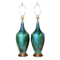 Mid century drip glaze turquoise pottery lamps