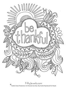 'be thankful' Coloring Page