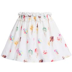 Ice-Cream Print Skirt with Pink Bow, Balloon Chic, Girl