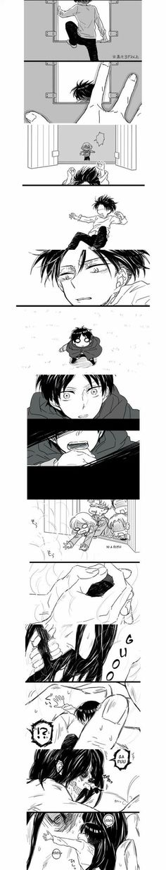 If titans could purr, that's what Eren would be doing when Levi hugged him