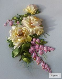 Wonderful Ribbon Embroidery Flowers by Hand Ideas. Enchanting Ribbon Embroidery Flowers by Hand Ideas. Ribbon Embroidery Tutorial, Embroidery Patterns Free, Silk Ribbon Embroidery, Embroidery Kits, Embroidery Stitches, Embroidery Designs, Embroidery Supplies, Embroidery Techniques, Ribbon Art