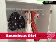 DIY American Girl Doll Hangers (On the Cheap). Click for the easy tutorial to make your own and finally get the doll clothes organized! #dollclothes #americangirl #diy #americangirlclothes #organization www.twoityourself.com
