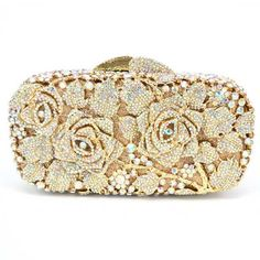 Luxury crystal clutch evening bag Golden rose flower party purse women  wedding bridal handbag pouch soiree pochette bag SC013 55ce1427784da