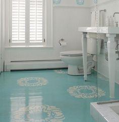 Aqua Painted Floor. bathroom.