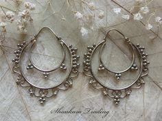 Tribal Brass Earrings White Brass Earrings by ShankaraTrading