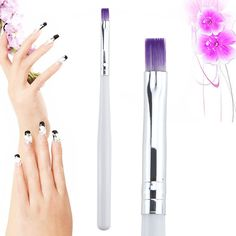 UV Gel Drawing Painting Brush Pen Nail Art Brush For Manicure DIY Tool Gradient Purple Color brush white handle Price: USD Gel Manicure Nails, Gel Acrylic Nails, Manicure Tools, Nail Art Tools, Nail Gel, Nail Polish, Nail Art Pen, Nail Art Brushes, Diy Beauty Tools