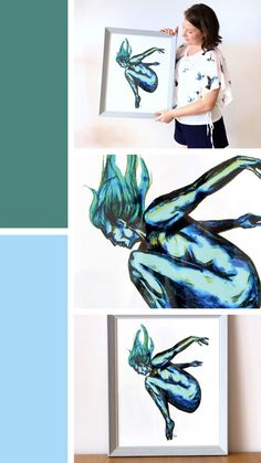'Flying or Falling' is a whimsical mixed media figure painting of a nude dancer. This nude art depicts the dancer in mid leap. Watercolour Paintings, Painting & Drawing, Watercolor, Mixed Media Artwork, Chalk Pastels, Dance Art, Figure Painting, Figurative, Whimsical