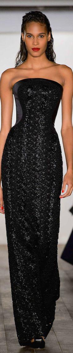 Zac Posen RTW Spring 2015 | black | strapless | sheath gown with embellishment