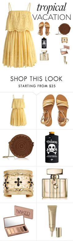 """TROPICAL VACATION"" by sofiy112 ❤ liked on Polyvore featuring Chicwish, Billabong, Aurélie Bidermann, Gucci, Urban Decay and Stila"