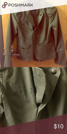 Jacket This is a nice olive jacket that can pull any outfit together! It has never been worn but there are a few buttons missing (as seen in pics) 💕. Apostrophe Jackets & Coats