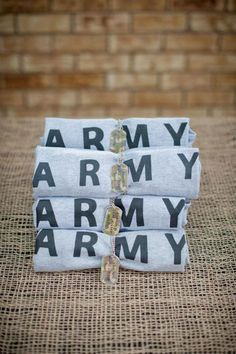 """DIY Army shirts Photo 7 of Military / Summer """"Army Party"""" Army Birthday Parties, Army's Birthday, Birthday Ideas, Camo Party, Military Party, Going Away Parties, Army Shirts, Pirate Party, Nerf Party"""