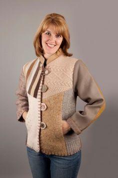 Upcycled Jackets at Baabaazuzu: Women's Long Mandarin Wool Jacket