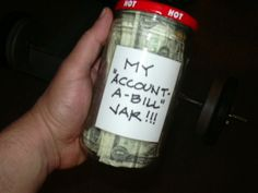 Want to stay accountable when exercising??? Try THIS!!! I put ONE DOLLAR BILL in this jar EVERY TIME I do one workout. Got the idea about two weeks ago!!!! It's FILLING UP!!! I get to go shopping for ME when I can't fit anything else in the jar!
