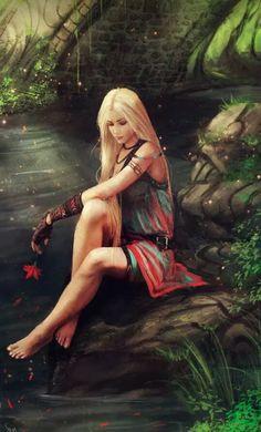 A girl near the river