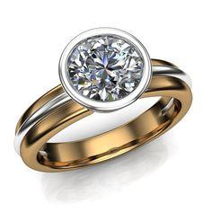 Diamond Engagement Ring 1 Carat Bezel Set Diamond in by jetflair