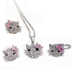 Lovely Kitty Necklace Ring Earrings Kid's Jewelry Set