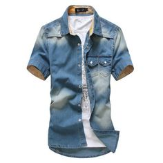 Contemporary Washed-out Denim Casual Shirt
